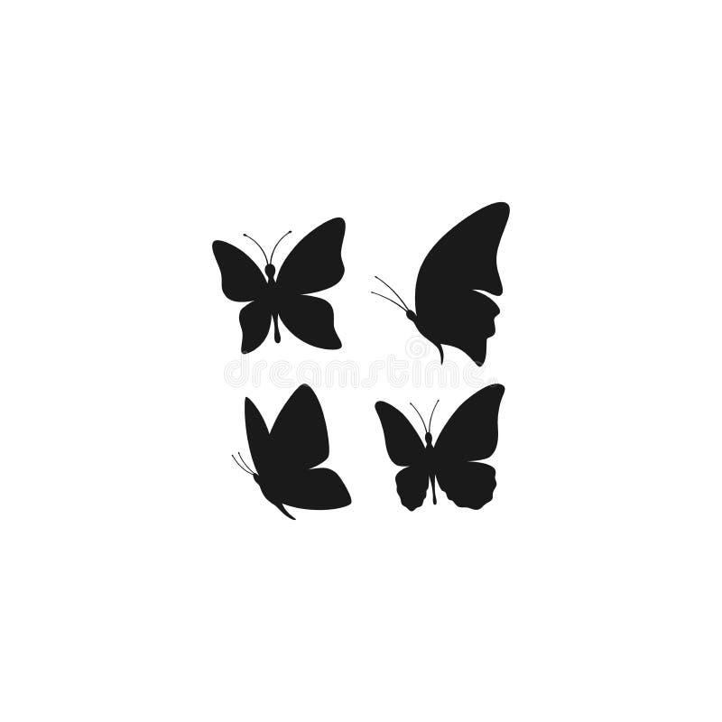 Πεταλούδα που πετά το μαύρο διανυσματικό σύνολο σκιαγραφιών διανυσματική απεικόνιση