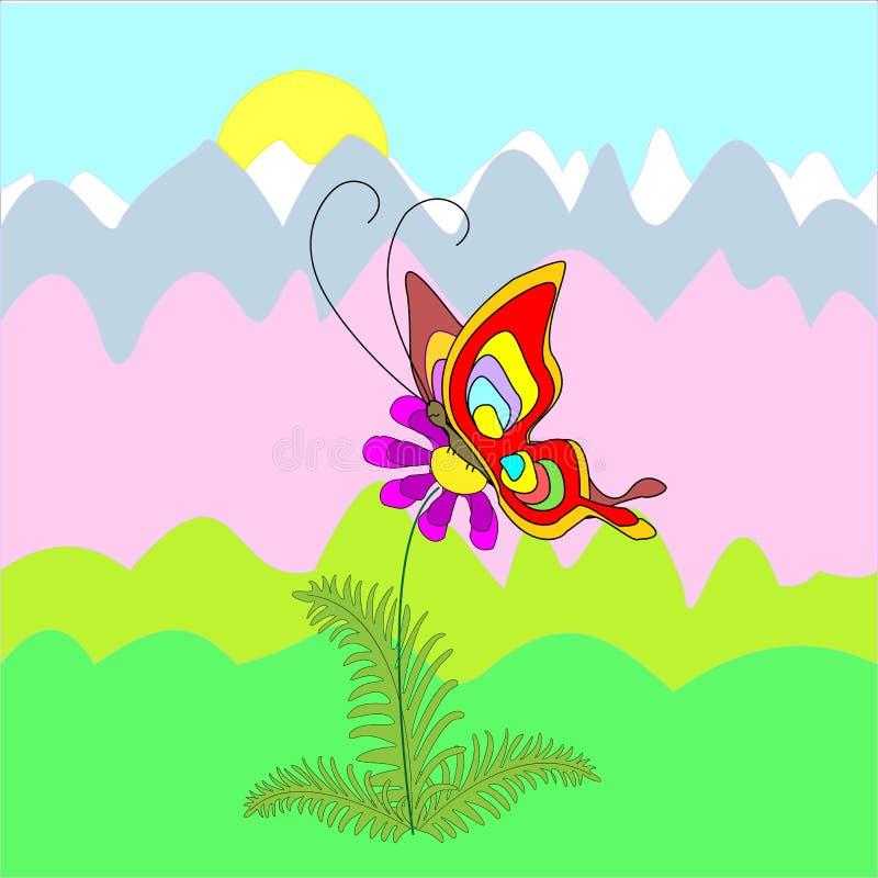 Πεταλούδα σε ένα λουλούδι r Η άνοιξη είναι μια όμορφη ημέρα r διανυσματική απεικόνιση