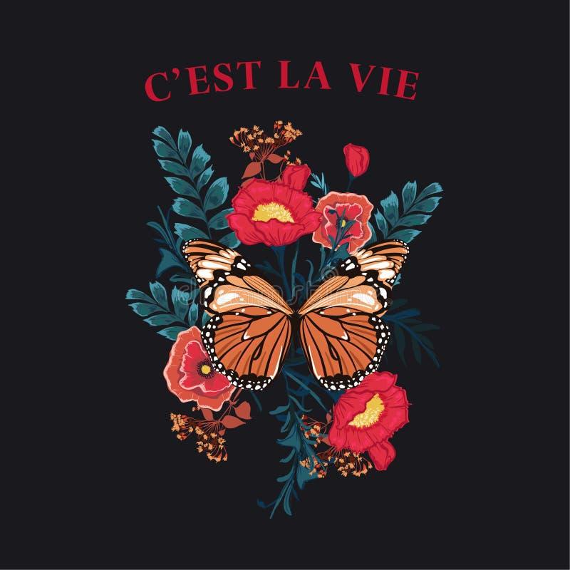 """Πεταλούδα συνθήματος με το διάνυσμα λουλουδιών άνθισης Τυπογραφία που διατυπώνει τη γραφική τυπωμένη ύλη Λα VIE Γ """"EST, σχέδιο μό ελεύθερη απεικόνιση δικαιώματος"""