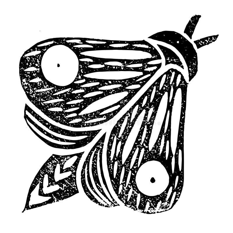 Πεταλούδα Χειροποίητη διανυσματική απεικόνιση Linocut μαύρο χρώμα Απομονωμένος στο λευκό απεικόνιση αποθεμάτων