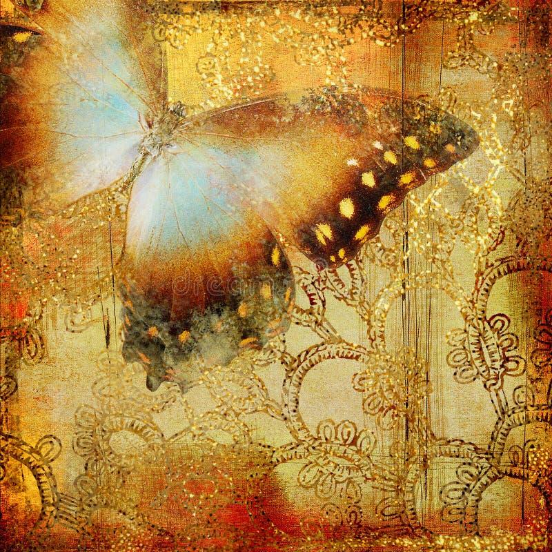 πεταλούδα χρυσή διανυσματική απεικόνιση