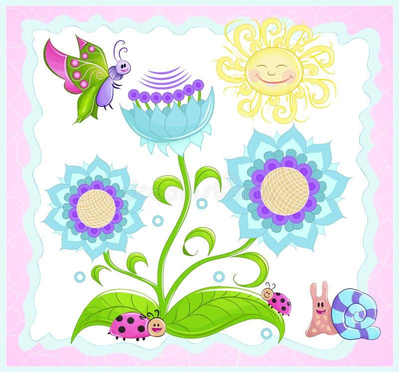 Πεταλούδα, ladybug, σαλιγκάρι, λουλούδι ήλιων. ελεύθερη απεικόνιση δικαιώματος