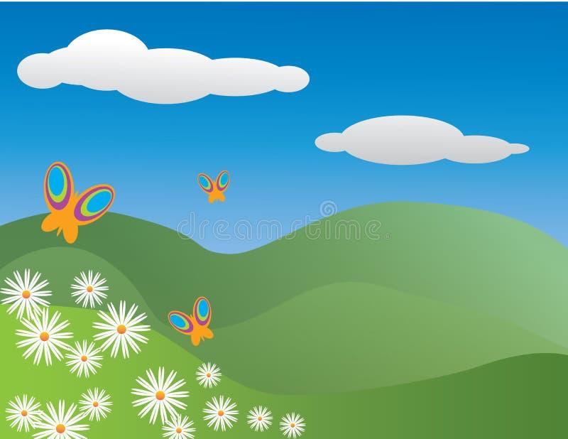 Πεταλούδες και μαργαρίτες σε ένα λιβάδι hilliside στοκ φωτογραφία