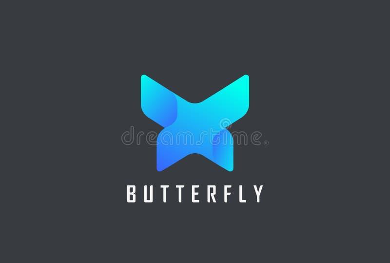 Πεταλούδων διανυσματικό πρότυπο λογότυπων γεωμετρικού σχεδίου αφηρημένο Επιστολή Χ εικονίδιο έννοιας Logotype ύφους τεχνολογίας διανυσματική απεικόνιση