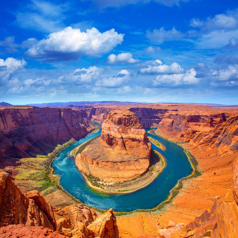Πεταλοειδής μαίανδρος κάμψεων της Αριζόνα του ποταμού του Κολοράντο στοκ φωτογραφίες με δικαίωμα ελεύθερης χρήσης