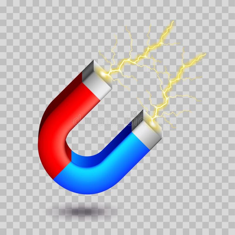 Πεταλοειδής μαγνήτης στο άσπρο διάνυσμα ελεύθερη απεικόνιση δικαιώματος