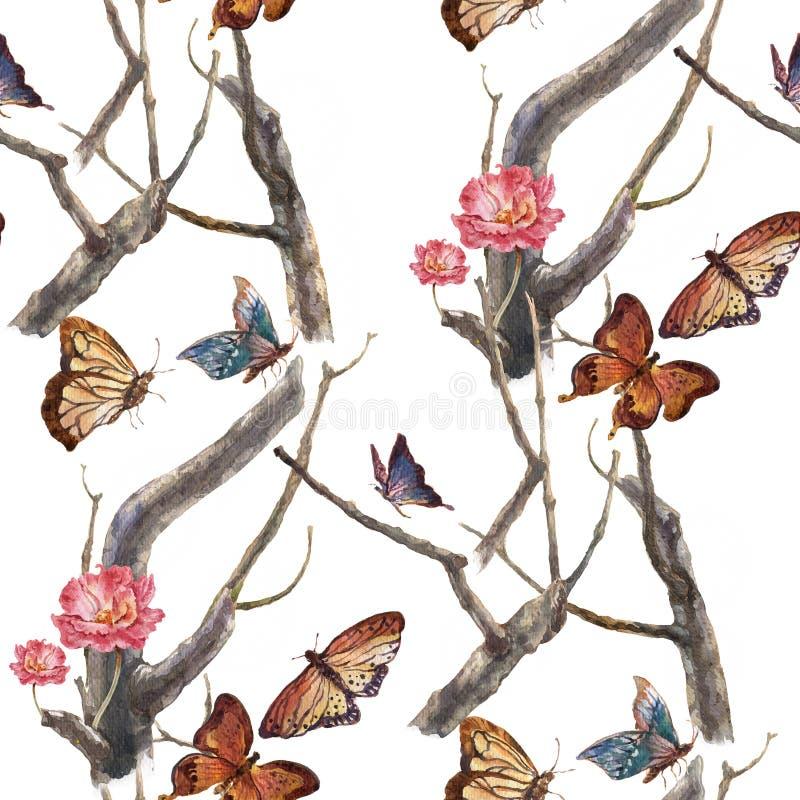 Πεταλούδα ζωγραφικής Watercolor και λουλούδια, άνευ ραφής σχέδιο στο άσπρο υπόβαθρο διανυσματική απεικόνιση