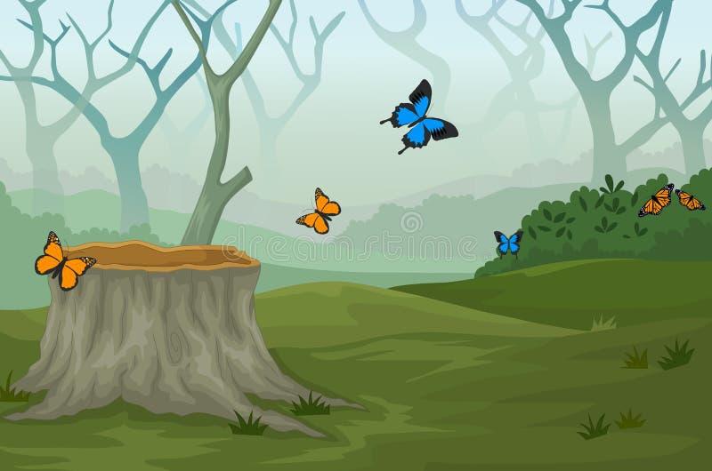 Πεταλούδα με το βαθύ δασικό υπόβαθρο ελεύθερη απεικόνιση δικαιώματος