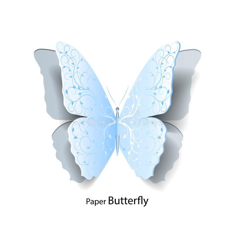 Πεταλούδα που αποκόπτει μπλε του εγγράφου απεικόνιση αποθεμάτων