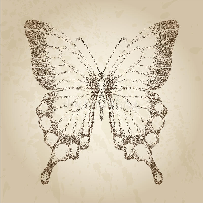 Πεταλούδα που χρωματίζεται στα γραφικά σημεία ύφους. Καλή κάρτα στο αναδρομικό ύφος απεικόνιση αποθεμάτων