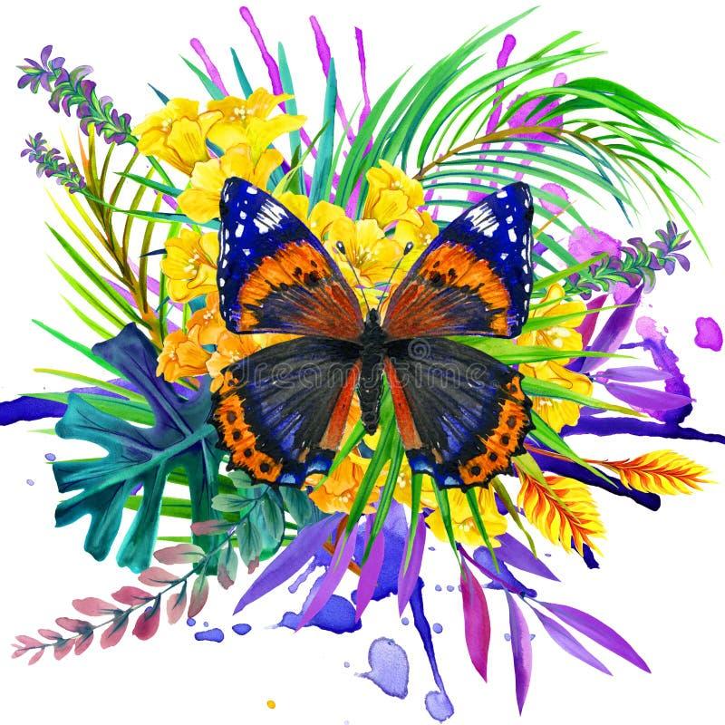 Πεταλούδα, τροπικά φύλλα και εξωτικό λουλούδι διανυσματική απεικόνιση