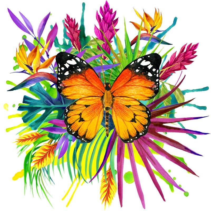 Πεταλούδα, τροπικά φύλλα και εξωτικό λουλούδι απεικόνιση αποθεμάτων