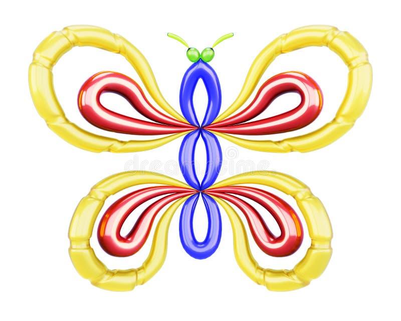 Πεταλούδα των μπαλονιών τρισδιάστατος απεικόνιση αποθεμάτων