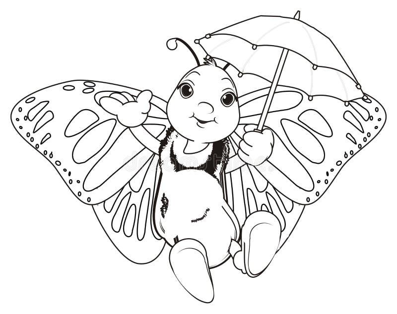 Πεταλούδα χρωματισμού με την ομπρέλα διανυσματική απεικόνιση