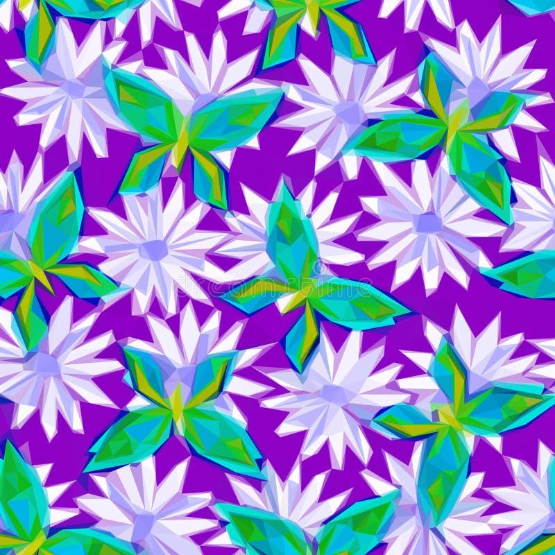 Πεταλούδες και λουλούδια, χαμηλό πολυ σχέδιο ελεύθερη απεικόνιση δικαιώματος