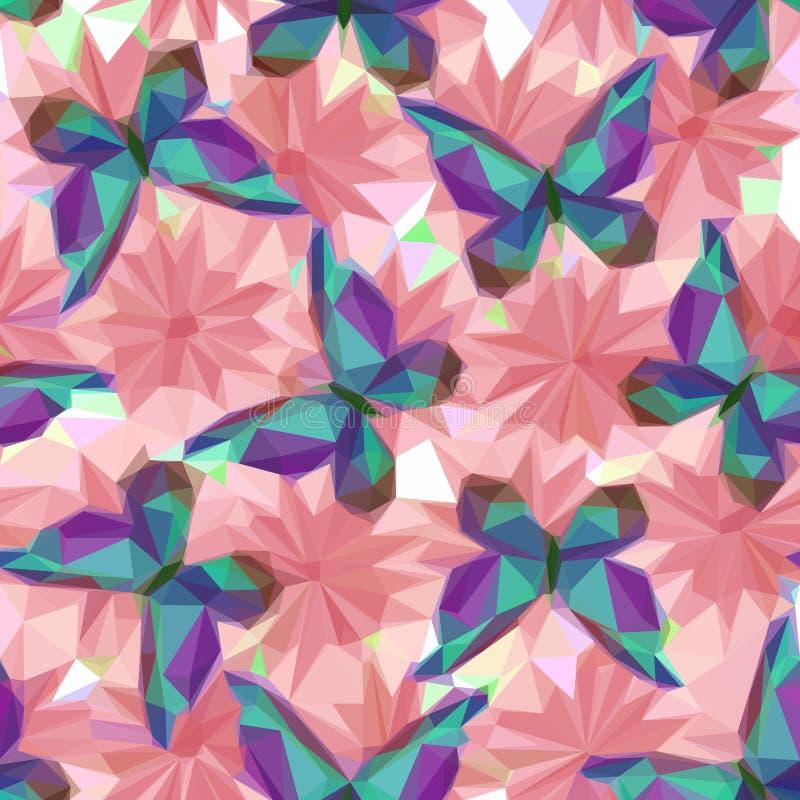 Πεταλούδες και λουλούδια, χαμηλό πολυ σχέδιο απεικόνιση αποθεμάτων