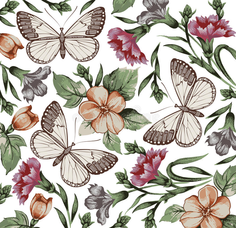 Πεταλούδες. Λουλούδια. Όμορφο υπόβαθρο. διανυσματική απεικόνιση