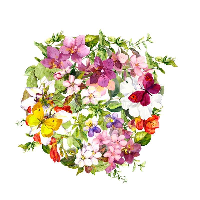 Πεταλούδες, λουλούδια, χλόη λιβαδιών floral κύκλος ανασκόπησης watercolour απεικόνιση αποθεμάτων