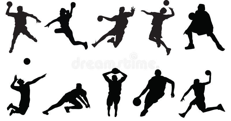 Πετοσφαίριση καλαθοσφαίρισης αθλητικών σκιαγραφιών διανυσματική απεικόνιση
