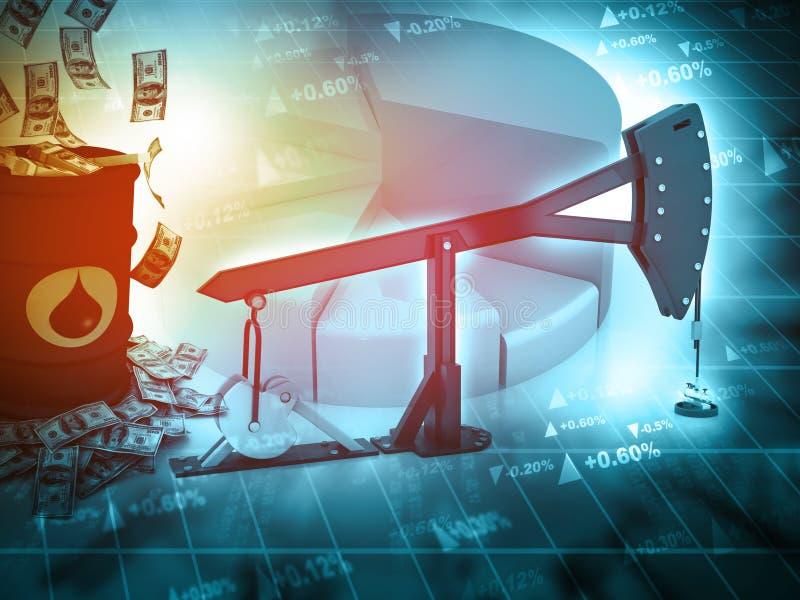 Πετρέλαιο αντλία-Jack και γραφική παράσταση αύξησης με τα δολάρια απεικόνιση αποθεμάτων