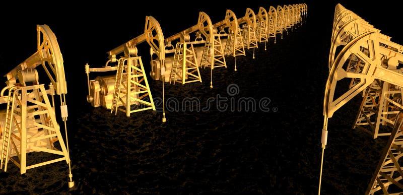 Πετρέλαιο - η μαύρη χρυσή τρισδιάστατη απόδοση έννοιας, χρυσές πετρελαιοπηγές στη θάλασσα του μαύρου πετρελαίου - βιομηχανική απε διανυσματική απεικόνιση