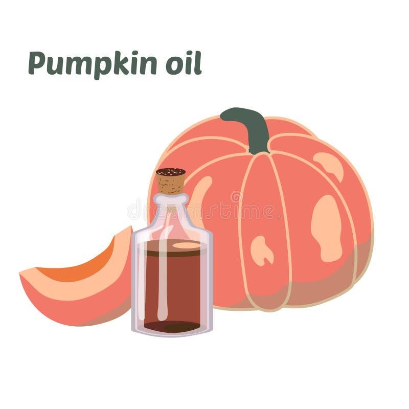 Πετρέλαιο κολοκύθας σε ένα στρογγυλό μπουκάλι Διαφανές εδώδιμο υγρό από το φυσικό, φυτικό, φυσικό οργανικό θρεπτικό πετρέλαιο car διανυσματική απεικόνιση