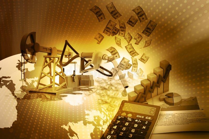 Πετρέλαιο αντλία-Jack και γραφική παράσταση αύξησης με τα δολάρια διανυσματική απεικόνιση