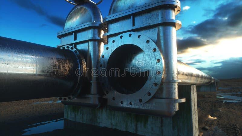 Πετρέλαιο, βαλβίδα αερίου Σωλήνωση στην έρημο Έννοια πετρελαίου τρισδιάστατη απόδοση στοκ εικόνα