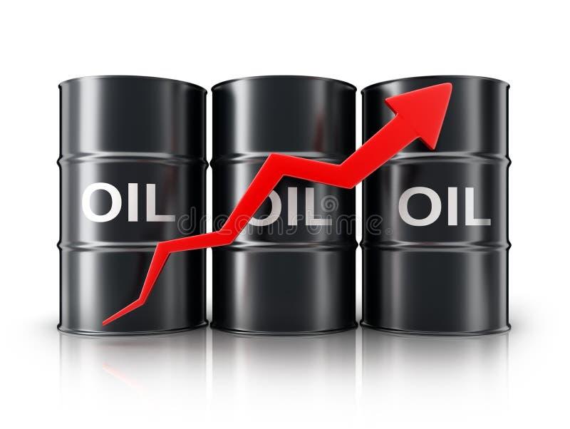 Πετρέλαιο και βέλος βαρελιών επάνω απεικόνιση αποθεμάτων