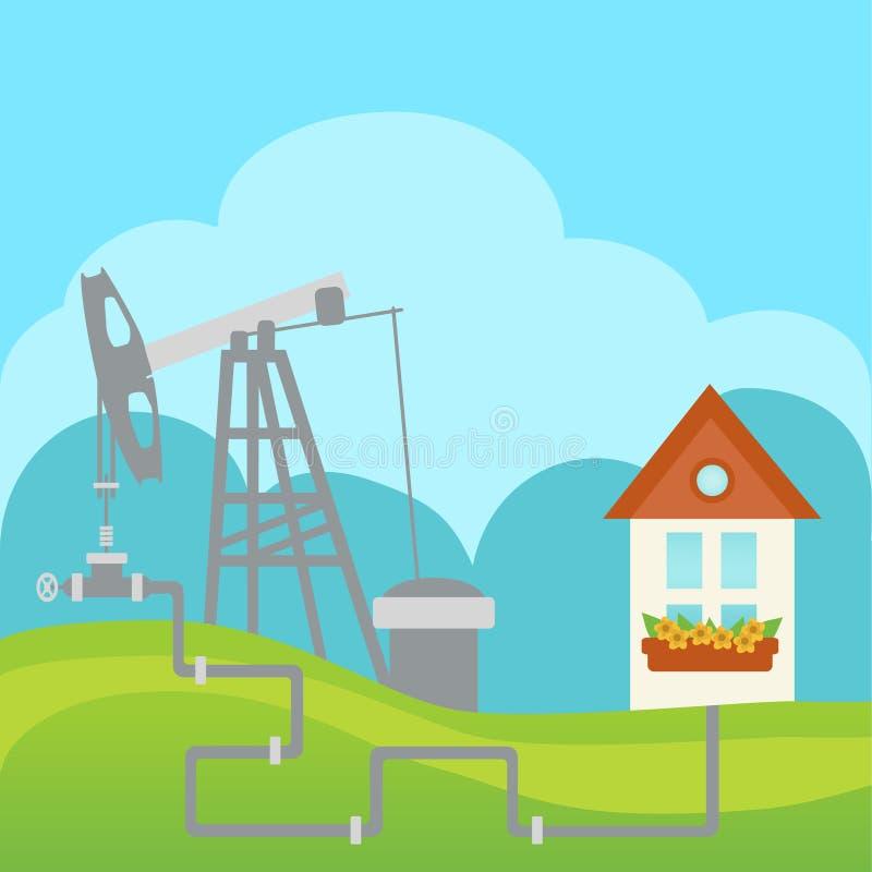 Πετρέλαιο και εργοστάσιο επεξεργασίας και σπίτι φυσικού αερίου διανυσματική απεικόνιση