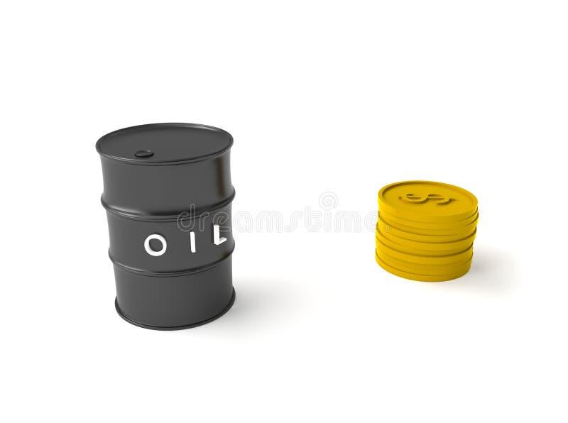 Πετρέλαιο και νόμισμα τρισδιάστατα ελεύθερη απεικόνιση δικαιώματος