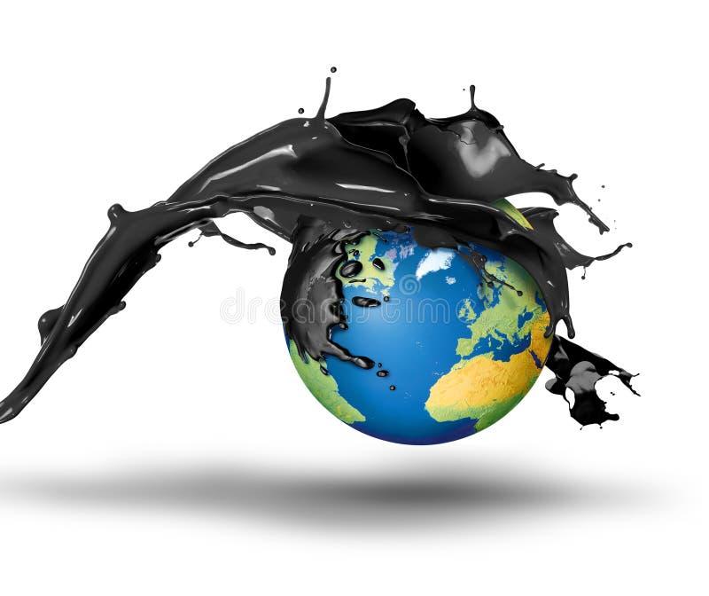 Πετρέλαιο που εκρήγνυται πέρα από το πλανήτη Γη διανυσματική απεικόνιση
