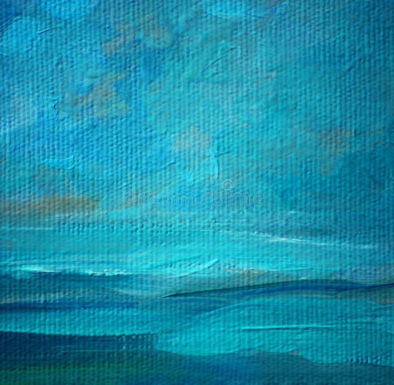 Πετρέλαιο τοπίων θάλασσας σε έναν καμβά, ζωγραφική στοκ φωτογραφίες με δικαίωμα ελεύθερης χρήσης