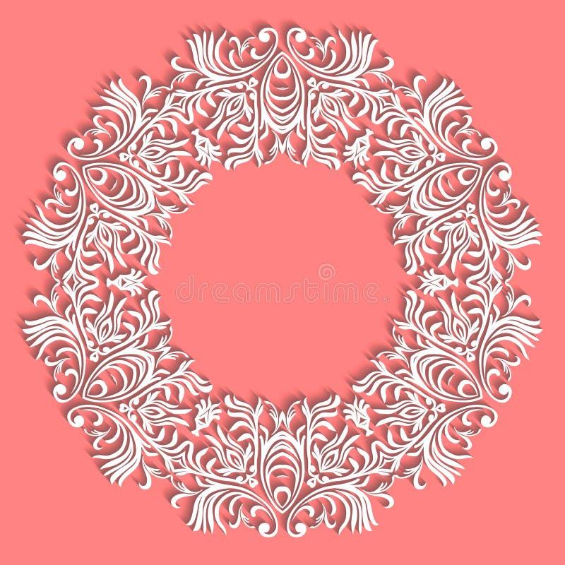 Πετσέτα δαντελλών χεριών Ο όμορφος κομψός τρύγος έπλεξε τη δαντελλωτός πετσέτα Επιτραπέζια διακόσμηση ή γαμήλια πρόσκληση Στρογγυ διανυσματική απεικόνιση