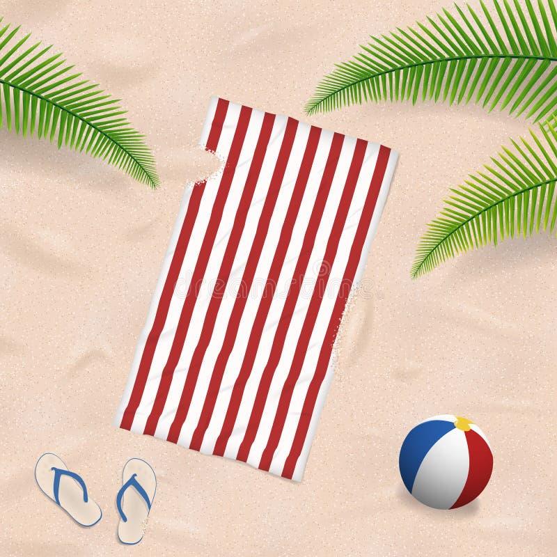 Πετσέτα παραλιών στην άμμο απεικόνιση αποθεμάτων