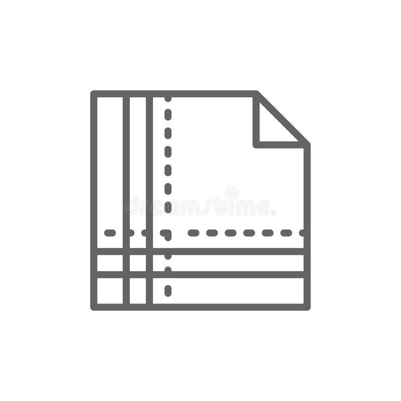 Πετσέτα υφασμάτων που διπλώνεται στο τετραγωνικό εικονίδιο γραμμών απεικόνιση αποθεμάτων