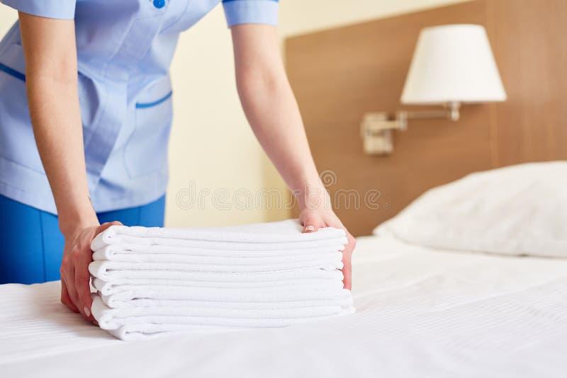 Πετσέτες για τους νέους φιλοξενουμένους στοκ εικόνα