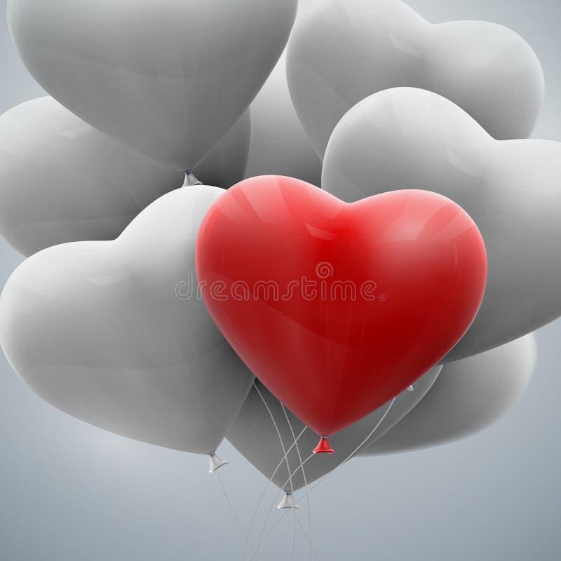 Πετώντας δέσμη των καρδιών μπαλονιών ελεύθερη απεικόνιση δικαιώματος