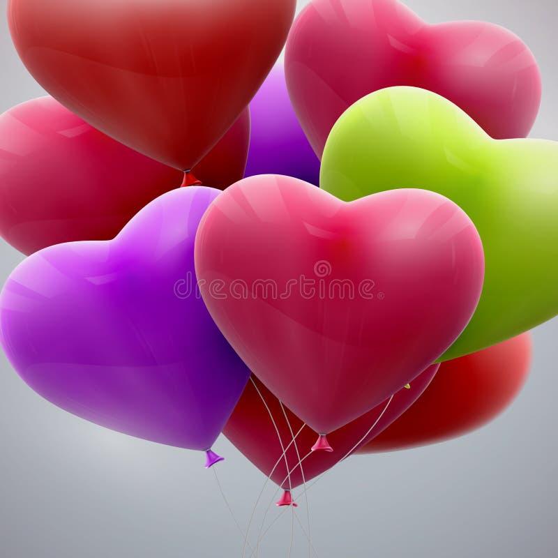 Πετώντας δέσμη των καρδιών μπαλονιών απεικόνιση αποθεμάτων