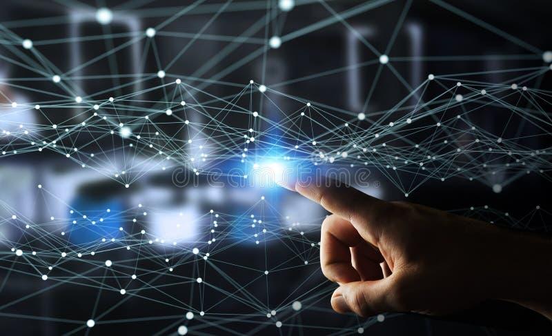 Πετώντας δίκτυο σημείων που αγγίζεται με την τρισδιάστατη απόδοση επιχειρηματιών απεικόνιση αποθεμάτων