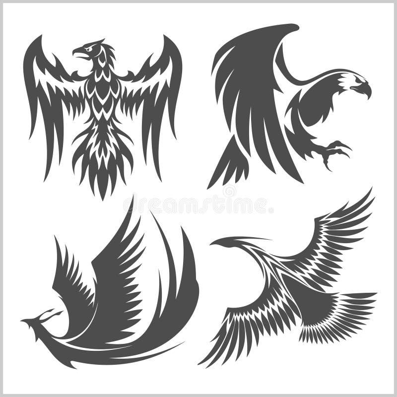Πετώντας αετός, peacock και διανυσματικά εικονίδια λογότυπων φασιανών που παρουσιάζουν διαφορετικές θέσεις φτερών διανυσματική απεικόνιση