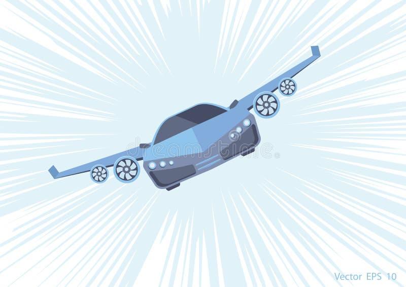Πετώντας αυτοκίνητο Έξοχη μηχανή υψηλής ταχύτητας διανυσματική απεικόνιση