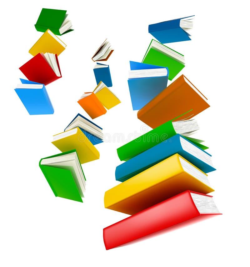 Πετώντας βιβλία Απομονωμένος στο λευκό ελεύθερη απεικόνιση δικαιώματος
