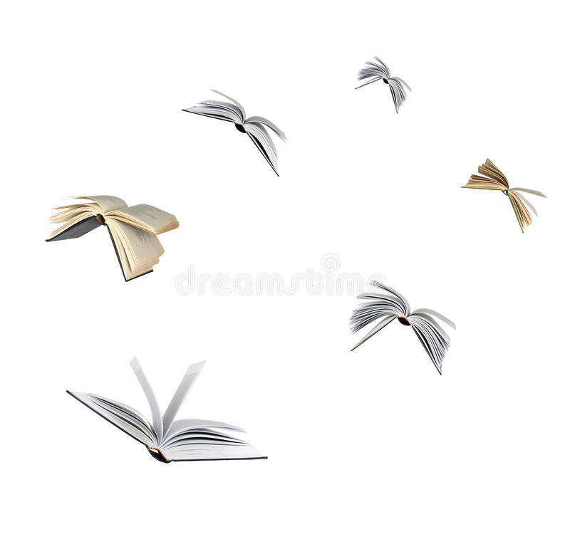 Πετώντας βιβλία στοκ φωτογραφίες