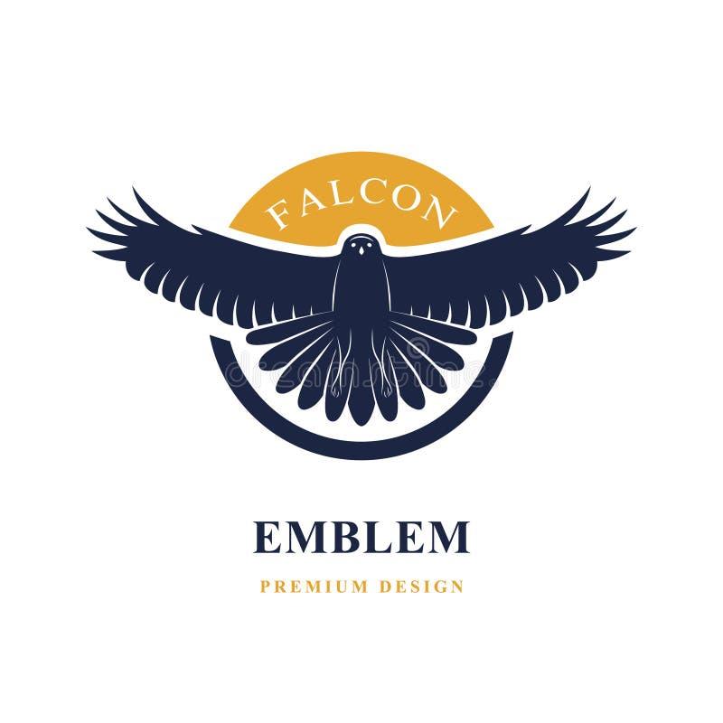 Πετώντας γεράκι Κομψό πρότυπο λογότυπων Σκιαγραφία ενός άγριου πουλιού με τα φτερά αναδρομικό ύφος Έμβλημα τέχνης επίσης corel σύ διανυσματική απεικόνιση