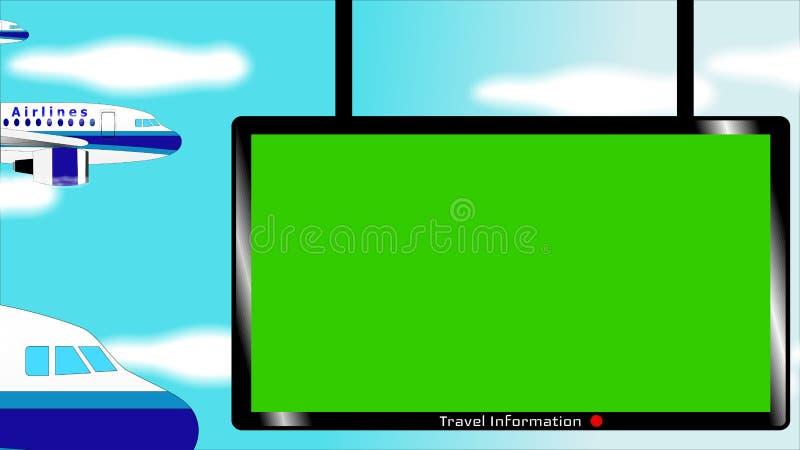 Πετώντας γραφείο πληροφοριών αεροσκαφών και αερολιμένων με τη βασική οθόνη χρώματος στο μπλε ουρανό διανυσματική απεικόνιση