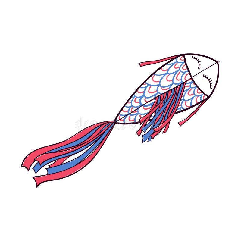 Πετώντας διαμορφωμένος ψάρια doodle ικτίνος με την ουρά κορδελλών απεικόνιση αποθεμάτων