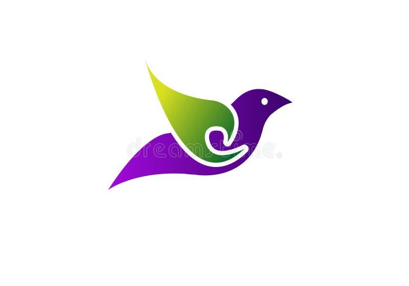 Πετώντας διανυσματικό πρότυπο σχεδίου λογότυπων πουλιών αφηρημένο Ζωηρόχρωμο εικονίδιο Logotype περιστεριών δημιουργικό ελεύθερη απεικόνιση δικαιώματος