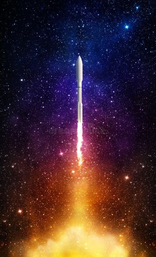 Πετώντας διαστημικός πύραυλος στον έναστρο ουρανό νύχτας Εξερεύνηση του διαστήματος β στοκ εικόνα με δικαίωμα ελεύθερης χρήσης