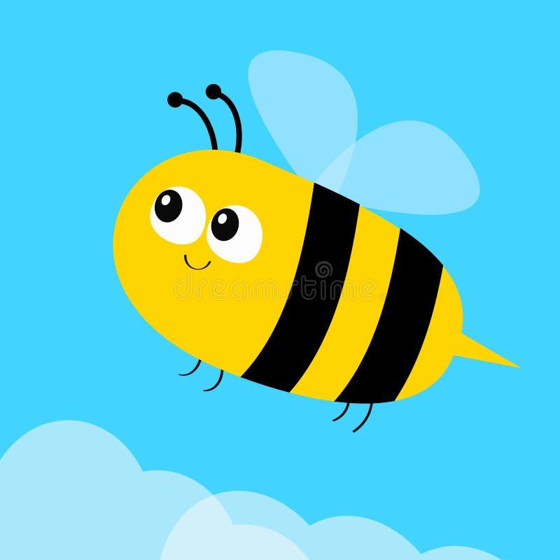 Πετώντας εικονίδιο μελισσών Μεγάλα μάτια Χαριτωμένο αστείο μωρό κινούμενων σχεδίων caharacter Επίπεδο σχέδιο μπλε ουρανός ανασκόπ απεικόνιση αποθεμάτων